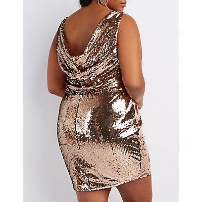 Plus Size Sequins Cowl-Back Bodycon Dress