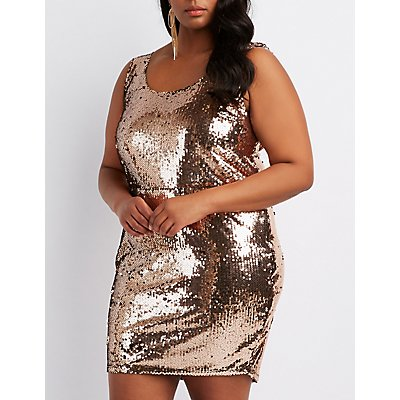 Plus Size Sequins Cowl-Back Bodycon Dress