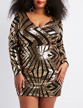 Plus Size Sequins V-Neck Bodycon Dress
