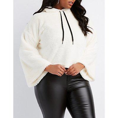 Plus Size Faux Fur Cropped Hoodie
