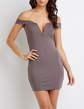 Off-The-Shoulder Notched Bodycon Dress