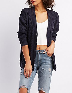 Cable Knit Button-Up Boyfriend Cardigan
