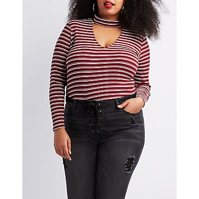 Plus Size Striped Choker Neck Top