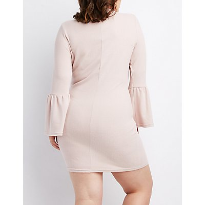Plus Size Mock Neck Bell Sleeve Sweater Dress