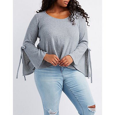 Plus Size Waffle Knit Bell Sleeve Top