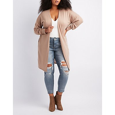 Plus Size Ballon Sleeve Longline Cardigan