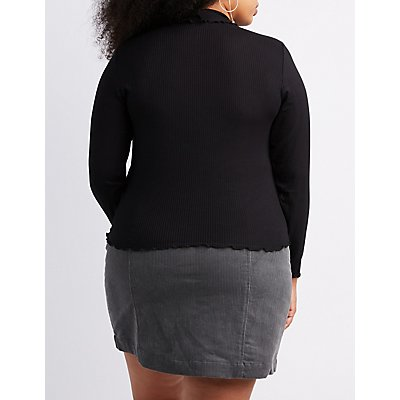 Plus Size Lettuce-Trim Ribbed Top