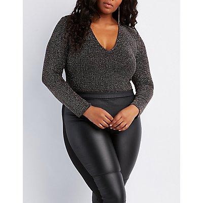 Plus Size Glittery V-Neck Bodysuit