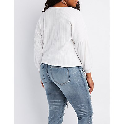 Plus Size Ribbed Tie-Front Sweater