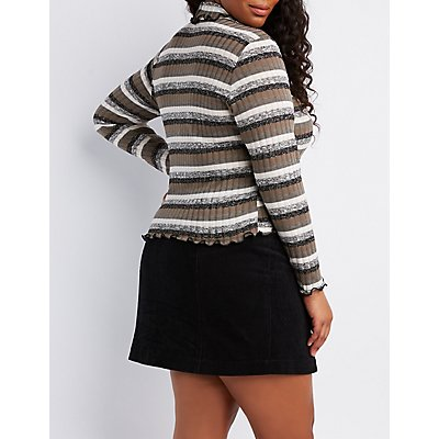 Plus Size Striped Lettuce-Edge Mock Neck Top
