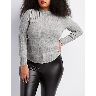 Plus Size Hacci Knit Mock Neck Top