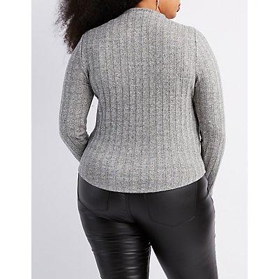 Plus Size Hacci Knit Mock Neck Top