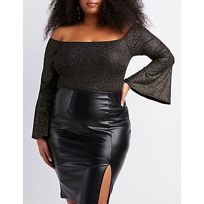 Plus Size Lurex Off-The-Shoulder Bodysuit