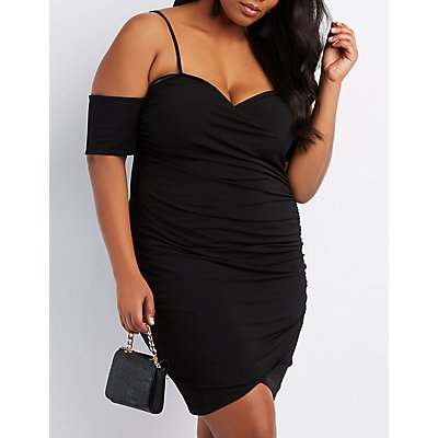 Plus Size Surplice Cold Shoulder Bodycon Dress