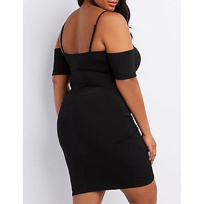 Plus Size Surplice Cold Shoulder Bodycon Dress