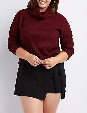 Plus Size Ribbed Cowl Neck Crop Sweater