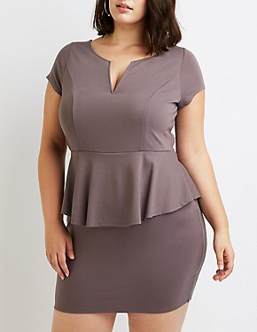 Plus Size Notched Peplum Dress