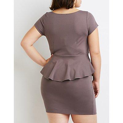 Plus Size Notched Peplum Dress