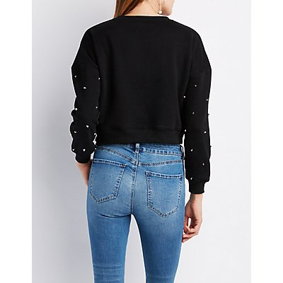 Studded-Detail Cropped Sweater
