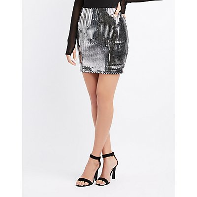 Holographic Sequin Mini Skirt