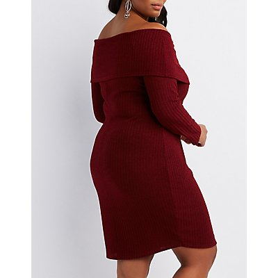 Plus Size Ribbed Off-The-Shoulder Bodycon Dress
