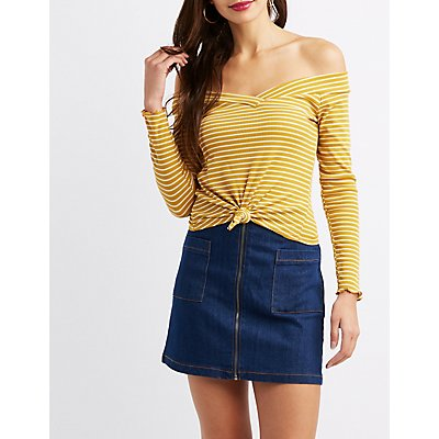 Striped Off-The-Shoulder Knotted Crop Top