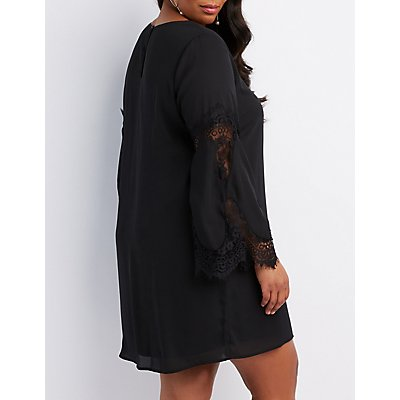 Plus Size Lace-Inset Bell Sleeve Shift Dress