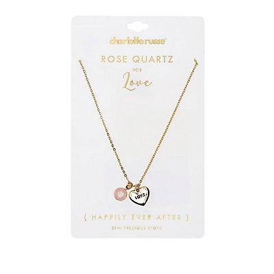 Love Rose Quartz Pendant Necklace