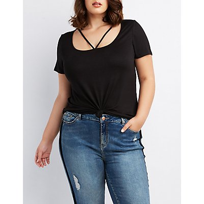 Plus Size Caged Cut-Out Tee