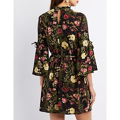 Floral Bell Sleeve Shift Dress