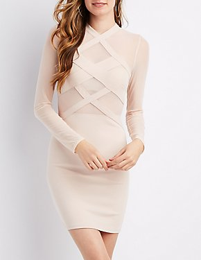 Mock Neck Mesh Bodycon Dress