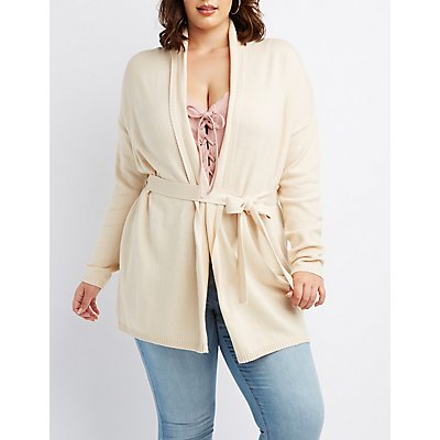 Plus Size Belted Duster Cardigan