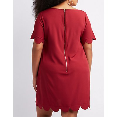 Plus Size Scalloped-Trim Shift Dress