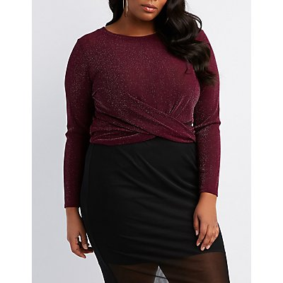 Plus Size Knotted Metallic Mesh Top