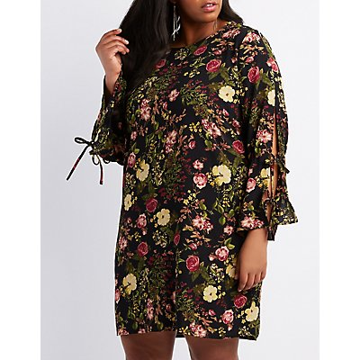 Plus Size Floral Bell Sleeve Shift Dress