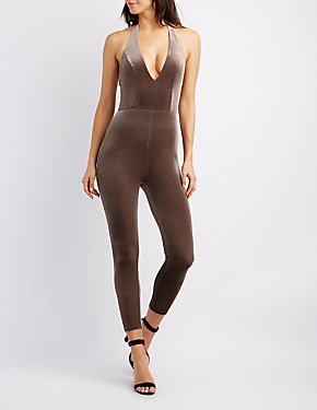 Velvet V-Neck Surplice Jumpsuit