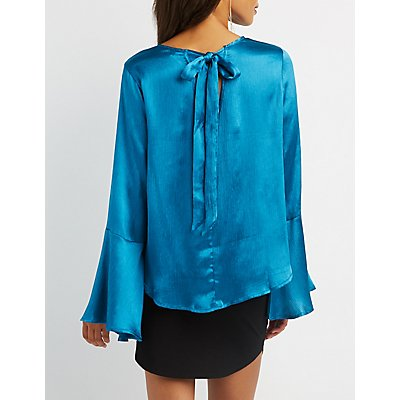 Satin Tie-Back Bell Sleeve Top