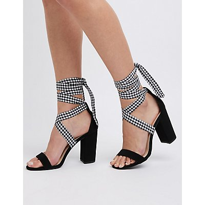 Gingham Ankle Wrap Sandals