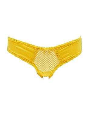 Lace-Trim Dotted Mesh Thong Panties