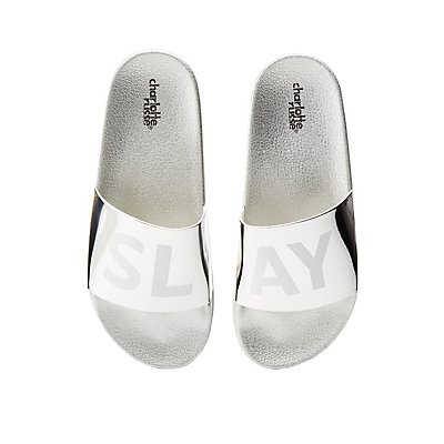 Slay Metallic Slide Sandals