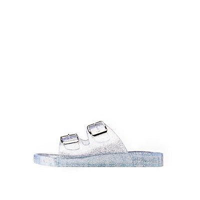 Glitter Buckled Slide Sandals