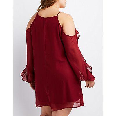 Plus Size Cold Shoulder Ruffle-Trim Shift Dress