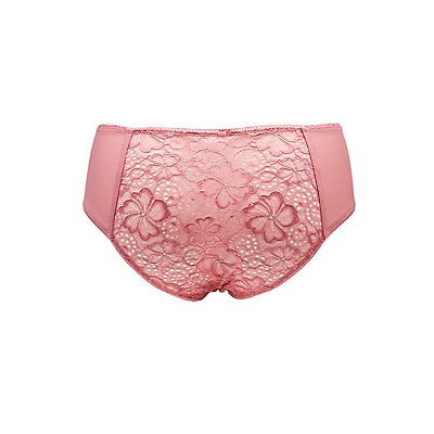 Plus Size Mesh-Trim Hipster Panties