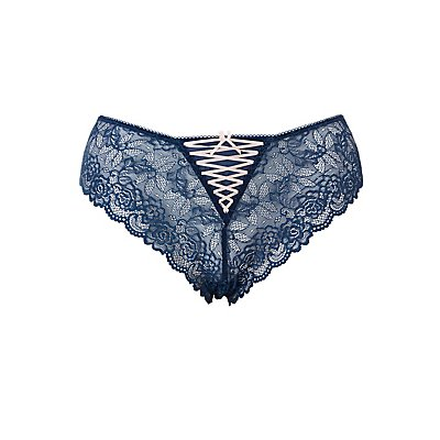 Plus Size Lace Caged-Back Cheeky Panties