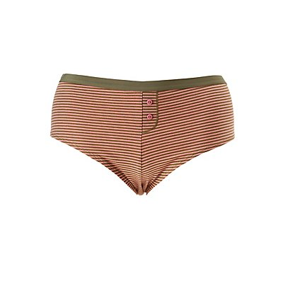 Plus Size Striped Boyshort Hipster Panties