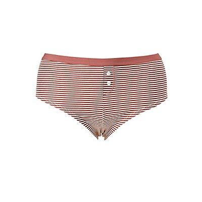 Plus Size Striped Boyshort Hipster Panties