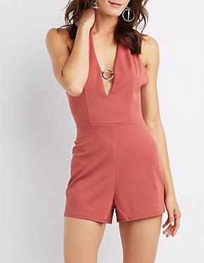 O-Ring Halter Neck Romper