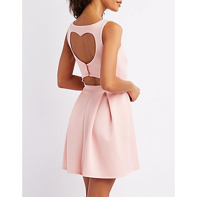 Wired Notch Open-Back Skater Dress