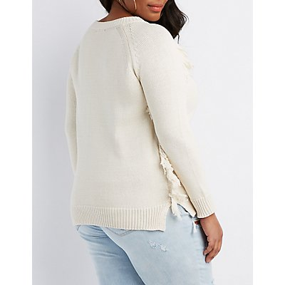 Plus Size Scoop Neck Fringe Detail Sweater