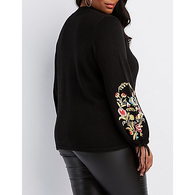 Plus Size Floral Embroidered Balloon Sleeve Sweater